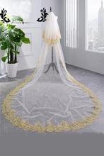 Load image into Gallery viewer, Elegant 3.5 Meters Long Gold Lace Edge Two Layers Long Wedding Veils with Comb V04