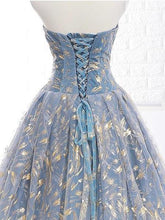 Load image into Gallery viewer, Elegant A Line Blue Tulle Long Strapless Lace up Gold Evening Dress Prom Dresses RS223