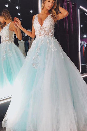 Elegant A Line Mint Green Tulle V Neck Prom Dresses with Lace Long Cheap Party Dress P1021