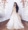 Elegant Illusion Neck Long Sleeves Tulle Wedding Dress with Appliques Bridal Dress RS633