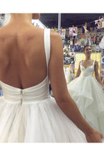 Load image into Gallery viewer, Elegant Ivory Tulle V Neck Spaghetti Straps Wedding Dresses Long Cheap Prom Dresses P1024