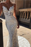Elegant Mermaid Spaghetti Straps Lace V Neck Ivory Wedding Dresses Bridal Dresses RS776