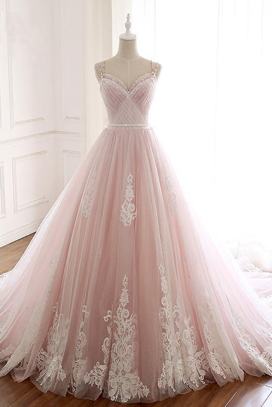 Elegant Pink Sweetheart Tulle Lace Appliques Lace up Prom Evening Dresses RS648