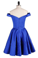 Load image into Gallery viewer, Elegant Satin Off the Shoulder Short Length A line V Neck Blue Homecoming Dresses H1137