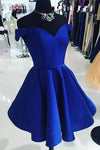 Elegant Satin Off the Shoulder Short Length A line V Neck Blue Homecoming Dresses H1137
