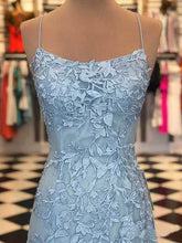 Load image into Gallery viewer, Elegant Spaghetti Straps Sky Blue Mermaid Backless Scoop Pageant Prom Dresses RS93