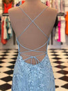 Elegant Spaghetti Straps Sky Blue Mermaid Backless Scoop Pageant Prom Dresses RS93