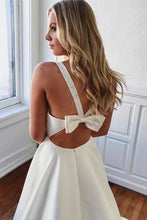Load image into Gallery viewer, Elegant V Neck Ivory Wedding Dresses with Pockets Open Back Satin Wedding Gowns W1030