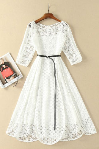 Elegant White Half Sleeve Lace Round Neck Homecoming Dresses Belt Ankle Knee Prom Dress H1127