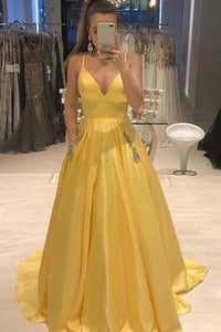 Elegant Yellow Spaghetti Straps A Line Satin V Neck Prom Dresses with Beads Pockets P1123