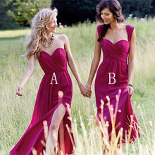 Load image into Gallery viewer, Red Cheap Chiffon Floor Length Side Split Long Sweetheart Sleeveless Bridesmaid Dress RS351