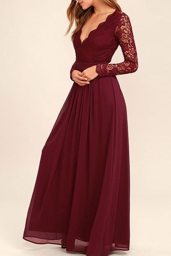 Long Sleeves V-Neck Lace Chiffon Open Back Floor-Length A-Line Burgundy Bridesmaid Dress RS168
