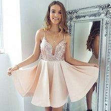 Load image into Gallery viewer, Sexy A-Line Spaghetti Straps V Neck Pearl Pink Short Homecoming Dress with Sequins RS881