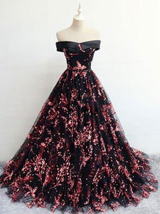 Floral Print Black Off the Shoulder Lace Appliques Prom Dresses with Lace up RS695