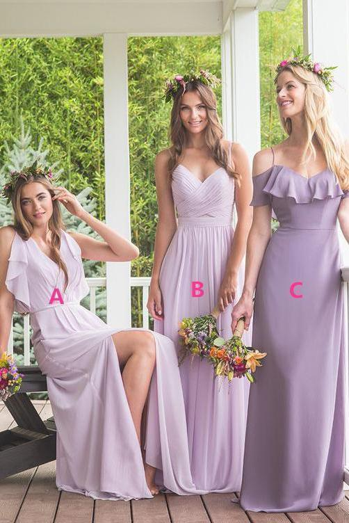 Elegant A Line Maxi Chiffon Long Mismatched Modest Purple Bridesmaid Dresses RS283