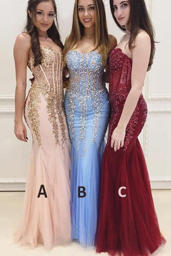 Mermaid Sexy Long Cheap Sweetheart Strapless Beads Tulle See Through Prom Dresses RS173