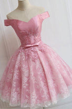 Load image into Gallery viewer, Off the Shoulder Lace up Lace Applique Dusty Rose Short Prom Dress Homecoming Dresses RS759