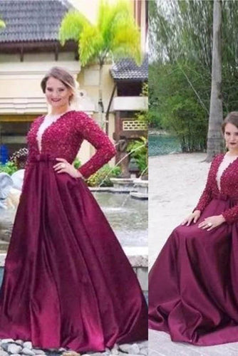 A Line V Neck Long Sleeves Beading Sweep Train Satin Plus Size Prom Dresses RS196
