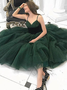 Green Spaghetti Straps Homecoming Dresses Tulle Cheap Fashion Short Prom Dresses H1067