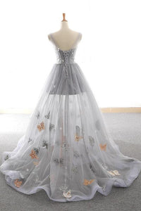 Grey Sweet Star Maxi Tulle A Line Lace Up Prom Dress