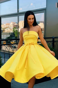 Simple Strapless Yellow Satin Ball Gown Short Homecoming Dresses Cocktail Dresses H1272