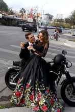 Load image into Gallery viewer, Two Piece Lace Floral Print Black Sexy Open Back Long Sleeve High Neck Prom Dresses RS56