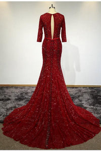 Sexy Mermaid 3/4 Sleeve V Neck Open Back Beads Burgundy Long Cheap Prom Dresses RS258