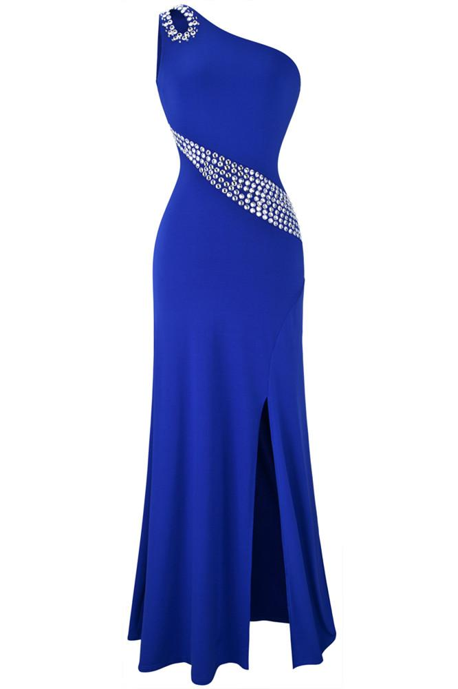 Hollow Out Rhinestones One Shoulder Slit Prom Dresses RS213