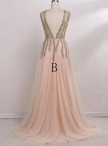 A line Tulle V Neck Pink Prom Dresses Long Backless Evening Dresses RS588