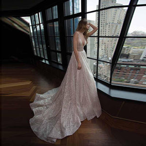 Honorable Deep V-Neck Court Train Pink Backless Prom Dresses with Sequins RS748