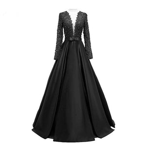Open Back Lace Long Sleeve Deep V-Neck A-Line Button Long Cheap Prom Dresses RS954