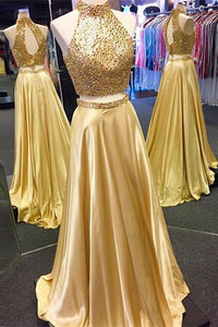 New Arrival Gold Two Pieces High Neck Pretty Sparkly Evening Party Prom Dress PD0062