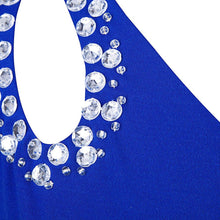 Load image into Gallery viewer, Hollow Out Rhinestones One Shoulder Slit Prom Dresses RS213