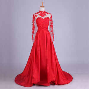New Arrival Elegant Taffeta Applique Long Sleeve Empire Prom Gowns Evening Dresses RS857