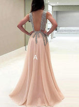 Load image into Gallery viewer, A line Tulle V Neck Pink Prom Dresses Long Backless Evening Dresses RS588
