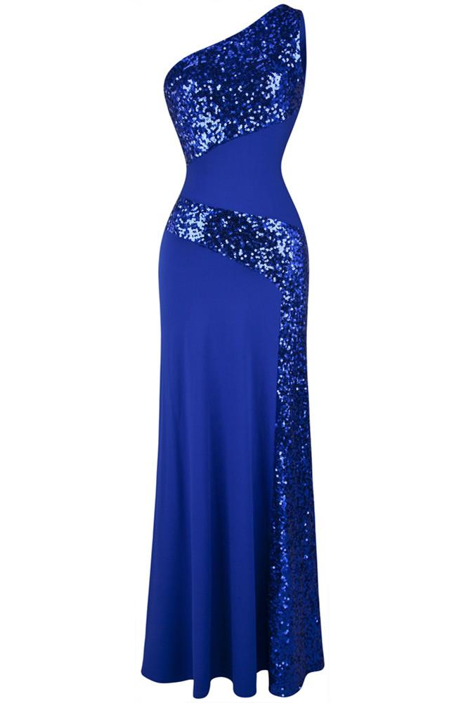 One Shoulder Sleeveless Sequin Maxi Prom Dresses RS202