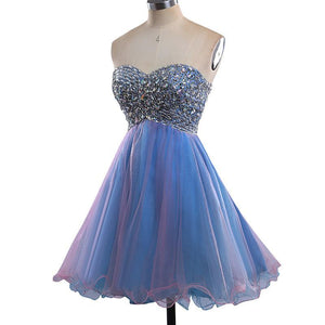 Strapless Cute Tulle Short Sweetheart Beading Blue Rhinestone Homecoming Dresses RS190