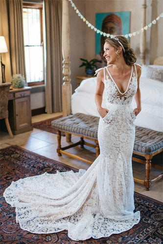 V-Neck Ruched Backless Lace Pockets Mermaid White Wedding Dress With Court Train RS303