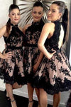 Halter Pearl Pink Open Back Bridesmaid Dress with Black Lace RS417