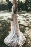 High Neck Lace Appliques Long Sleeve Mermaid Beach Wedding Dresses Bridal Dresses W1071