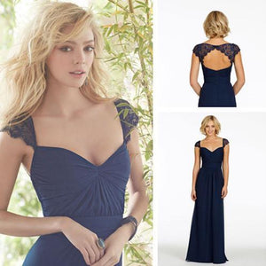 Sexy A-Line Sweetheart Cap Sleeve Lace Open Back Navy Blue Long Bridesmaid Dresses RS80
