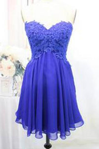 Tulle Lace Homecoming Dress Royal Blue Fitted Homecoming Dress Short Prom Dress RS904