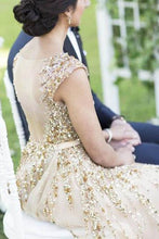 Load image into Gallery viewer, Illusion Neck Beading Long Gold Wedding Dress with Sheer Back Long Prom Dresses RS936