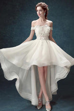 Load image into Gallery viewer, Ivory High Low Off the Shoulder Bridal Dress With Appliques Beach Wedding Dress W1004