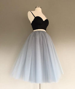 Two Pieces Black and Silver Short Tulle Sweetheart Spaghetti Strap Homecoming Dress RS200