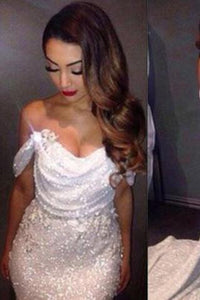 White Mermaid Off The Shoulder Long Ivory Sequins with Sparkle Formal Party Dresses For Teens RS13