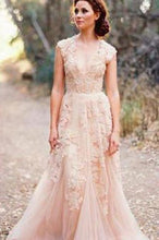 Load image into Gallery viewer, Long Tulle Vintage Romantic Unique Cap Sleeve Pink A-Line Appliques Wedding Dresses RS88