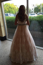Load image into Gallery viewer, Lace Sweetheart Backless Ruffles Pink and Ivory Prom Dresses Evening Dresses RS414