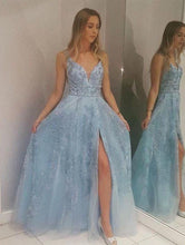 Load image into Gallery viewer, Light Blue Lace Appliques Prom Dresses with Slit Beads V Neck Evening Dresses RS607