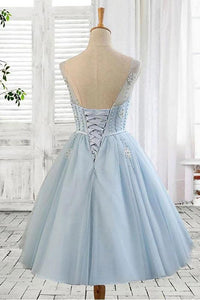 Light Blue Tulle Short Prom Dress Scoop Straps Homecoming Dresses with Lace up H1165